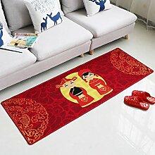 KYDJ Rot Polyester Teppich Ehe Raumaufteilung Wolldecke Schlafzimmer Haushalt Osmanen 50*80cm / 60 * 90cm / 80 * 120 cm 60 * 160 cm/100*160CM (Farbe: 4, Größe: 60 * 160 cm)