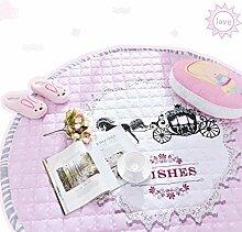 KYDJ Teppich Prinzessin Zimmer dicker Teppich Baumwolle Pastorale große kreisförmige Schlafzimmer Wohnzimmer Teppich Bett Matten