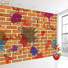 KYKDY Graffiti Embossed Brick Wallpaper Tapete
