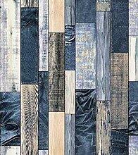 KYKDY Holz Tapete für Wände 3D Blau/Braun Vinyl