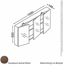 KZOAO Spiegelschrank 120 cm nussbaum