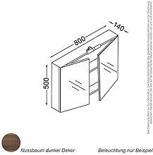 KZOAO Spiegelschrank 80 cm nussbaum