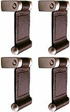 L 'Agape bosc12X4–Pack von 4Möbelknauf Schubladengriff Leder und Zink, rechteckig, klassisch) braun