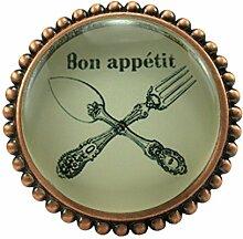 L 'Agape pobonap Möbelgriff Küchengriff Schubladengriff Glas und Zinn, rund, Vintage) mehrfarbig