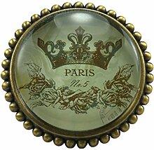 L 'Agape poparis Möbelgriff Küchengriff Schubladengriff Glas und Zinn, rund, Vintage) mehrfarbig
