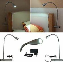L&E®22222540 - LED Bettleuchte Bettlampe Leselampe Nachttischleuchte 2er Set für linke und rechte Bettseite (kalt weiss);