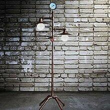 L Industrielle Retro-Stehlampe, Doppelkopf E27 tun