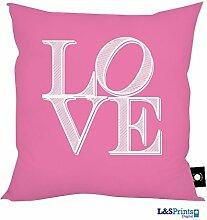 L&S PRINTS FOAM DESIGNS Love Buchstaben rosa Design Kissen 45,7x 45,7cm hergestellt in Yorkshire tolle Geschenkidee