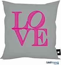 L&S PRINTS FOAM DESIGNS Love Letters grau Design Kissen 45,7x 45,7cm hergestellt in Yorkshire tolle Geschenkidee