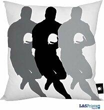 L&S PRINTS FOAM DESIGNS Väter Tag Geschenk Rugby Design grau weiß, hergestellt in Yorkshire tolle Geschenkidee für Dad
