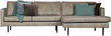 L Sofa in Grau Kunstleder Retro Look