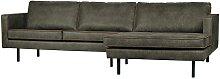 L Sofa in Olivgrün Recyclingleder 3 m breit