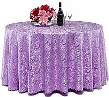 L&Y Hotel Tischdecken Restaurant Runde Tisch Tischdecke Haushalt Tischtuch ( Farbe : Lila , größe : 240CM )
