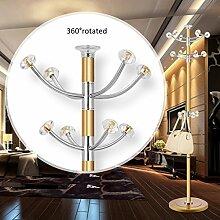 L&Y Klassische Kleiderbügel Coat Stand Rack Edelstahl Einfache Montage Hanger Landing Creative Racks (Farbe : Gold)