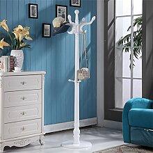 L&Y Kleiderablage Kleiderbügel aufhänger Massivholz Mantel Racks Boden Kleiderbügel Modern Simplicity Hochwertige Kleiderbügel European Style ( Farbe : Weiß )