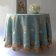 L&Y Mode Druck Tischdecken Couchtisch Tuch Europäischen Stil High Grade Pastoralen Stil Runde Tischdecke Tischdecken Tischdecke ( Farbe : Blau , größe : D180 cm )