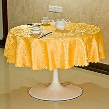 L&Y Präsident Casual Dining Tischdecken, Hotel Tischtücher, Round Tischtücher ( Farbe : Gelb , größe : 94.48inch )
