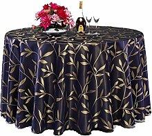 L&Y Runder Tisch Hotel Tischdecke Stoff Hotel Runder Tisch ( Farbe : Dunkelblau , größe : 300CM )