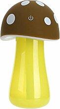 L@YC USB Mini Pilz Lampe Luftbefeuchter Luftbefeuchter Büro Haus Ruhig Ultraschall , brown , 15*8cm