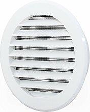 L2 Lüftungsgitter Abschlussgitter rund Ø 100 mm weiß mit Insektennetz Gitter ABS Kunststoff witterungsbeständig Insektenschutz