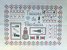 """La Boîte à Broder COU050RBMB Bedruckter Coupon """"Trésor de Brodeuses"""" (Schatz der Stickerin), Leinen/Métis, Rot/Blau/Weiß"""