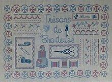 """La Boîte à Broder COU050RBMN Bedruckter Coupon """"Trésor de Brodeuses"""" (Schatz der Stickerinnen), Leinen/Métis, Rot/Blau/naturfarben"""