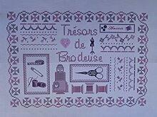 """La Boîte à Broder COU050RGMB Bedruckter Coupon """"Trésor de Brodeuses"""" (Schatz der Stickerinnen), Leinen/Métis, Rosa/Grau/naturfarben"""