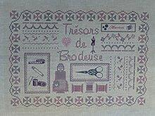 """La Boîte à Broder COU050RGMN Bedruckter Coupon """"Trésor de Brodeuses"""" (Schatz der Stickerinnen), Leinen / Métis, Rosa / Grau / naturfarben"""