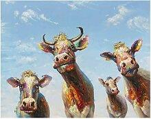 La Casa Ölbild Fröhliche Kühe 140x110cm