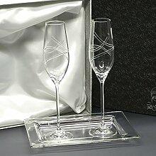 la galaica Set/Etui von 2 Kristallgläser für