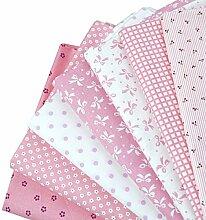 LA HAUTE 50 x 50 cm, Baby, Bündel, gepunktet, Baumwolle, Patchwork-Stoff Material Heimtextilien, komfortabel, Reinigungstuch für Näharbeiten, Pink Series, Einheitsgröße