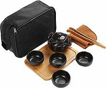LA HAUTE Teekanne aus Keramik, Quik-Teetassen-Set,