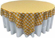 La Leinen Gingham Karo Tischdecke, quadratisch, Polyester, White/Dark Yellow, 228.6 x 228.6 x 0.04 cm