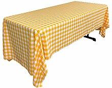 La-Leinen Gingham Tischdecke rechteckig mit, Polyester, Dark Yellow/White, 152.4 x 305 x 0.04 cm