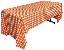 La-Leinen Gingham Tischdecke rechteckig mit, Polyester, orange/weiß, 152.4 x 305 x 0.04 cm