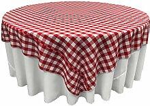 LA Leinen Poly Checkered Tischdecke, 90 x 90 Zoll, rot / weiß