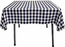 La Leinen Poly Karierte Tischdecke, quadratisch, 52von-52, Marineblau/Weiß