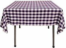 La Leinen Poly Karierte Tischdecke, quadratisch, 52von-52, Violett/Weiß