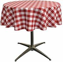 La Leinen Poly Karierte Tischdecke rund, 51-inch, rot/weiß