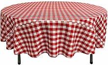 La Leinen Poly karierten Tischdecke rund rot / weiß