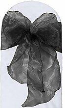 La Leinen Sheer Spiegel Organza Schleife Schärpen, Polyester, Polyester, schwarz, 20.32 x 274.32 x 0.022 cm