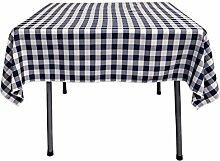 LA Linen La Bettwäsche Gingham Tischdecke mit, quadratisch, Polyester, marineblau/weiß, 147.32 x 147.32 x 0.04 cm