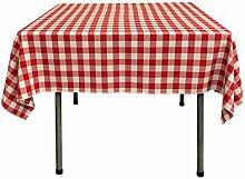 LA Linen La Bettwäsche Gingham Tischdecke mit, quadratisch, Polyester, rot/weiß, 147.32 x 147.32 x 0.04 cm