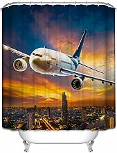 LA&NA Flugzeug Dekor Textil Design Stoff Badezimmer Duschvorhang Set mit Haken Wasserdicht und Mehltau resistent , 2 , 180*200cm