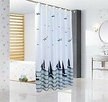 LA&NA Weiße und blaue Möwe Dekor Polyester Fabric Badezimmer Duschvorhang mit Haken eingestellt Wasserdicht und Mehltau resistent , 260*200cm