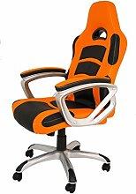 La Silla Española Die Spanische Stuhl Luanco Büro Gaming-Stuhl mit Armlehnen, Kunstleder, Orange und Schwarz, 50x 48x 127cm