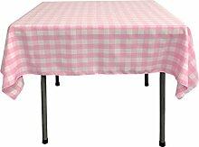 LA Tischdecke, quadratisch, Leinen pink/weiß