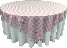 LA Tischdecke, quadratisch, Leinen rosa/weiß
