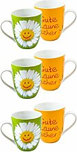 La vida für Dich :-) Kaffeebecher / Tasse 250ml 'Gute Laune Becher :-)' (6 Stück)
