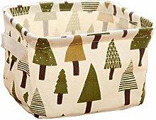 Laat Tragbare Kleidung Speicher Korb Desktop Organizer Spielzeug Aufbewahrung Box Kosmetik Tasche für Bleistift Halter quadratisch Ablage Cubes Cartoon Muster, baum, 20×16×13cm